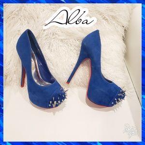 8 spike studded spike blue stiletto heels sexy